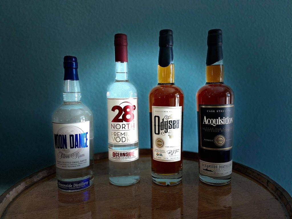 Oceanside Distillery Liquors - Odysea Florida Bourbon Whiskey, 28 Degrees North Premium Vodka, Moon Dance Silver Rum, Acquisition Bourbon Whiskey